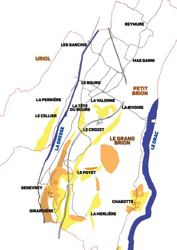 Schéma des zones de glissement de terrain à Vif