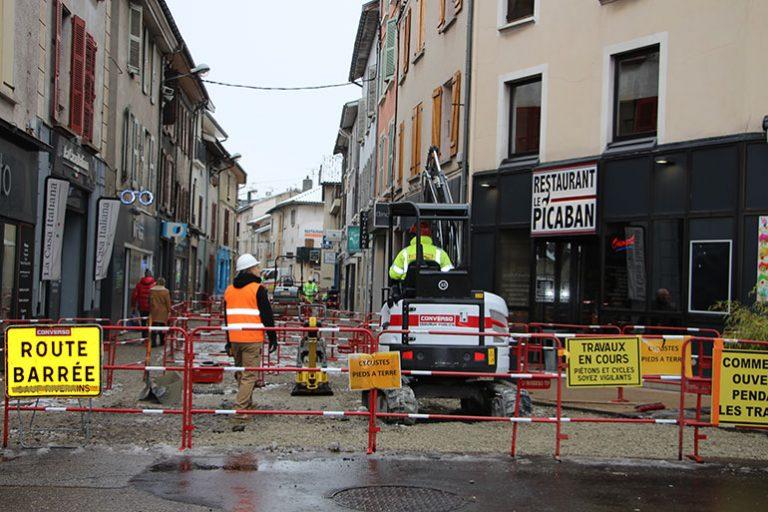 Travaux rue Champollion et rue Louise Molière
