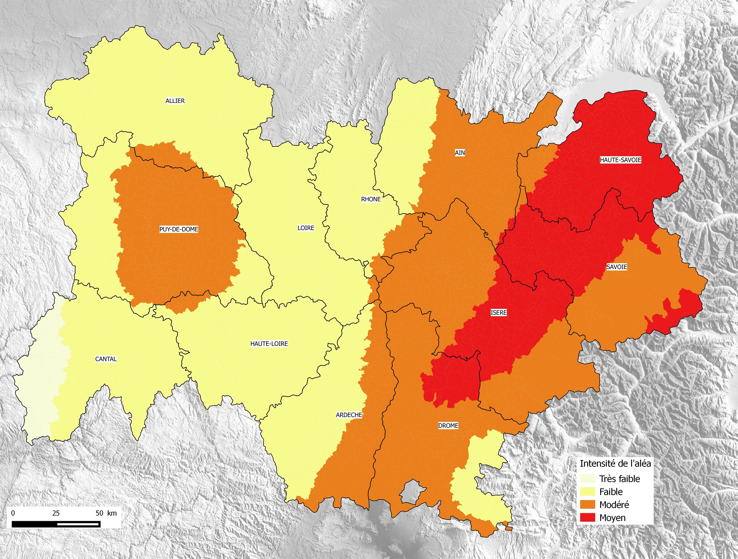 Schéma des zones à risques sismiques en région Auvergne Rhône Alpes