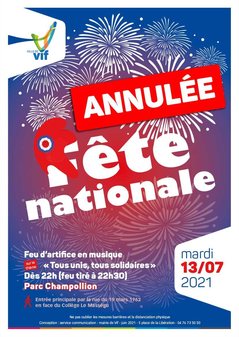 Annulation fête nationale